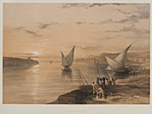 Boats on the Nile, 19th century illustration