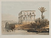 Hypaethral Temple at Philae, 19th century illustration