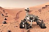 Perseverance rover drilling on Mars, illustration