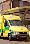 London ambulance outside a hospital