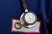 Hospital doctor with stethoscope