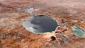 Jezero crater, Mars, illustration