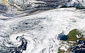 Storm Christoph approaching UK, satellite image