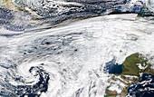 Storm Christoph approaching UK, satellite image