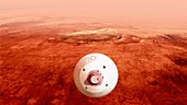Spacecraft guiding itself towards Mars, illustration