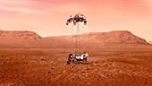 Perseverance rover landing on Mars, illustration
