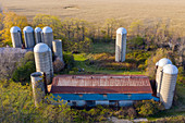Silos on a farm, aerial photograph