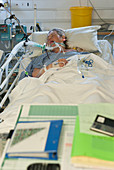 Woman on a ventilator in intensive care