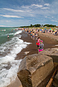 Beachgoers, Lake Michigan, USA