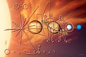 Pioneer plaque and Solar System, illustration
