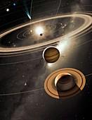 Solar System and comet, illustration