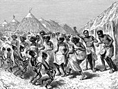 19th Century Somali people dancing, illustration