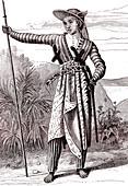 19th Century Javanese warrior, illustration