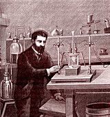 19th Century electrolysis experiment, illustration