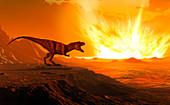 Tyrannosaurus observing asteroid impact, illustration