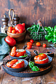 Stuffed tomatoes, baked with herbs and cottage cheese