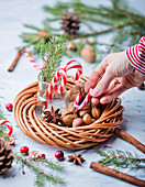 Candycanes and Christmas wreath with nuts