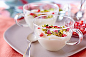 Creme Libanaise with pistachios and pomegranate