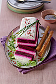 Beetroot terrine with goat's cream cheese