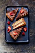 Sponge cake with chocolate cream