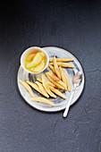 Schupfnudeln (potato orzo pasta) with fruit compote
