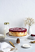 Cottage cheese pudding cake with cherries