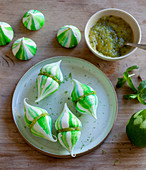 Pavlova drops with mint and pineapple