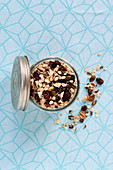 Homemade muesli mixture with nuts and cranberries
