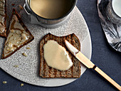 Macadamia mousse on a slice of toast