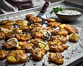 Smashed roast potatoes