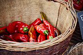Red peppers in a basket on a market stall