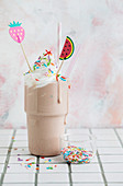 Vegan birthday cake milkshake