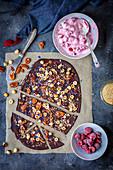 Homemade chocolate and yogurt with raspberries