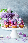 Blueberry cupcakes topped with purple macarons and lilac flowers