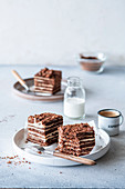 Chocolate coffee layer cake with sour cream