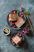 Crepe and chocolate cake with two kinds of crepes and cream