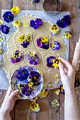 Viola cookies in the making