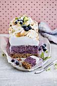 Vegan frozen no-bake blueberry and lime meringue slab