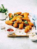 Chickpea croquettes with mayonnaise and ketchup