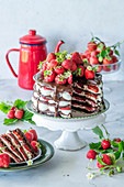 Srawberry chocolate cake with mascarpone