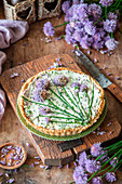 Chives pie with cheese