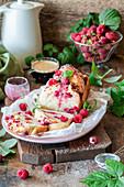 Raspberry babka with dried raspberry glaze