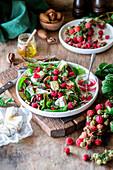 Raspberry brie salad with raspberry vinegar