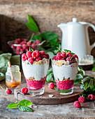 Raspberry chia seed dessert