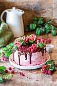 Raspberry chocolate cake with raspberry powder buttercream
