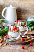Raspberry parfait with granola and chia seeds