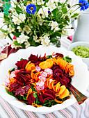 Vegetable spirals on lettuce