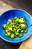 Green jalapenos and chilli rings