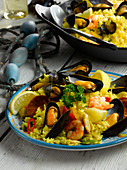 Mussel, king prawn and chorizo paella
