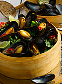 Steamed welsh mussels with chilli, lime and coriander